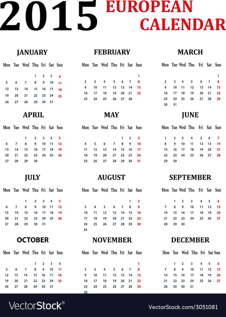 simple european calendar for 2015 vector image