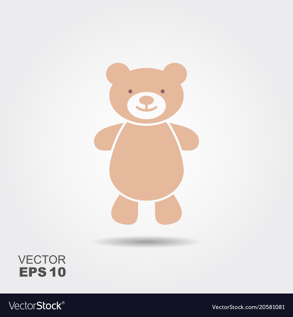 soft toy teddy bear flat icon royalty free vector image