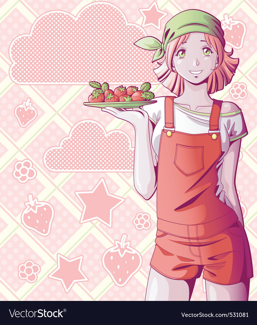 Strawberry girl vector image