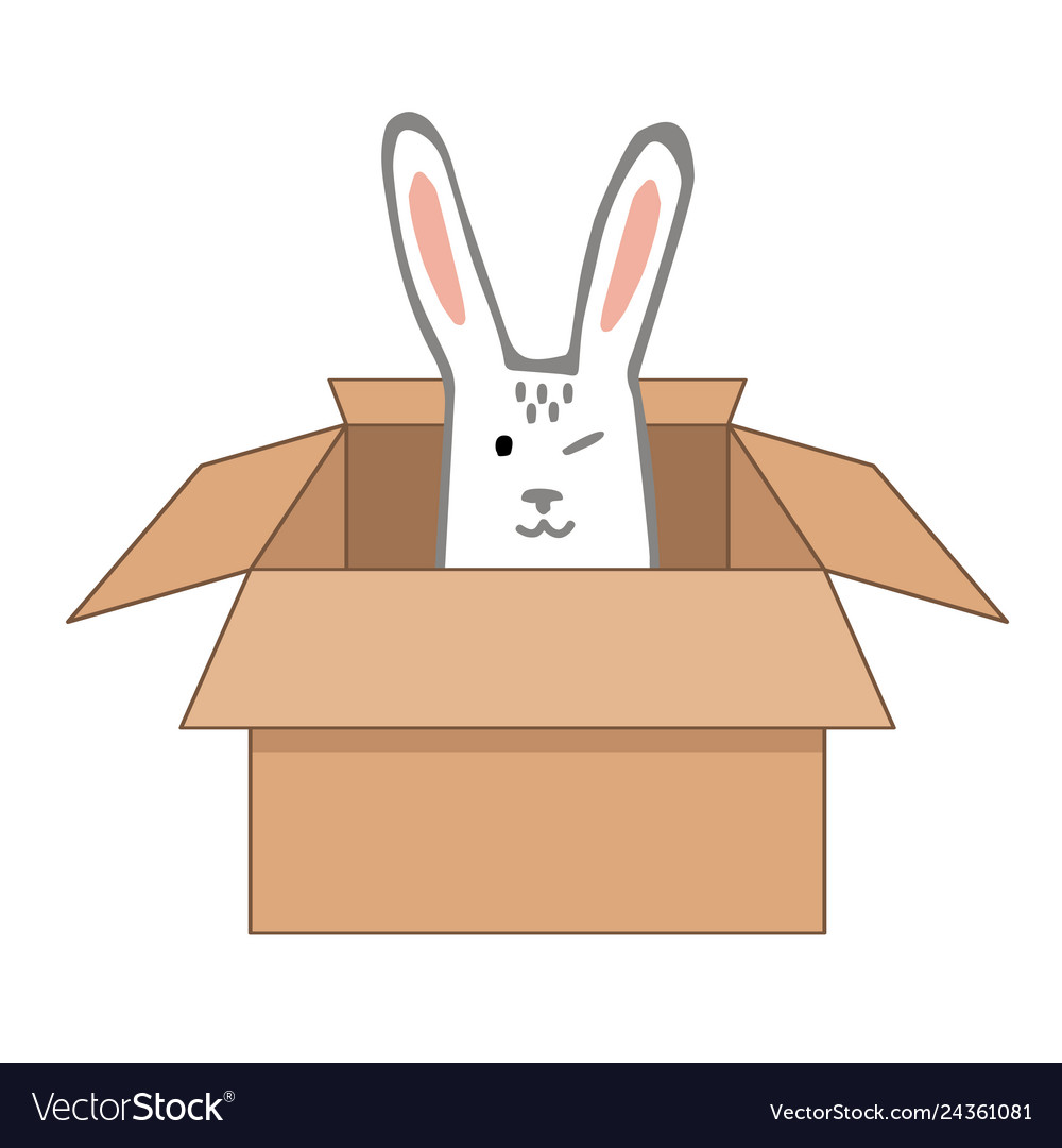 Surprise craftboard box with happy easter bunny