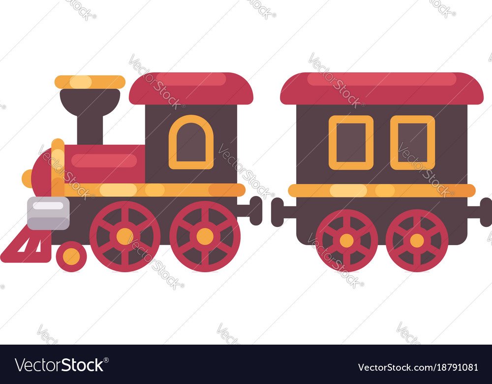 Toy train flat christmas present icon Royalty Free Vector
