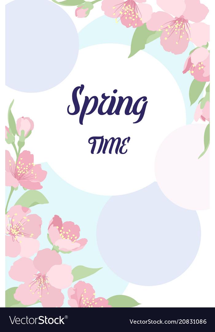 Card template corners decor cherry sakura flowers vector image