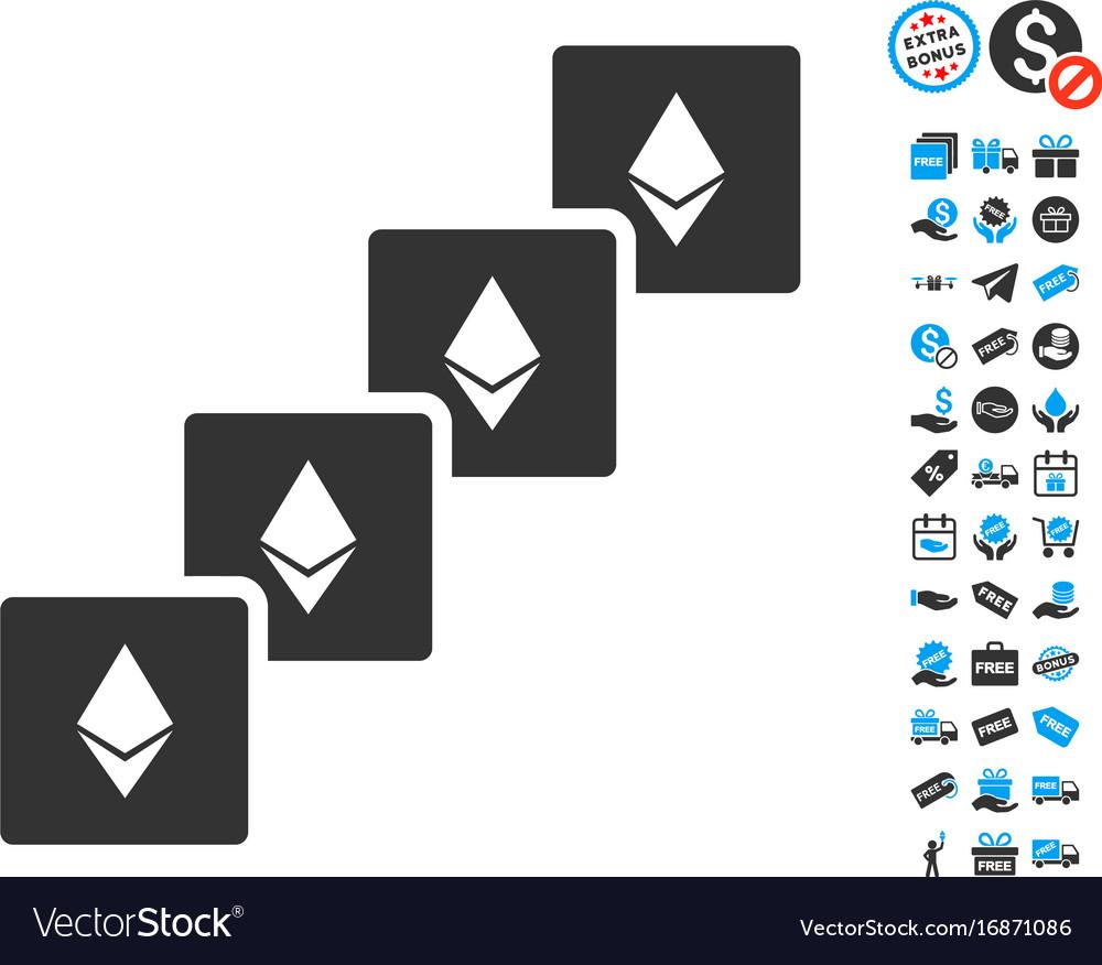 Ethereum Blockchain Icon With Free Bonus Vector Image