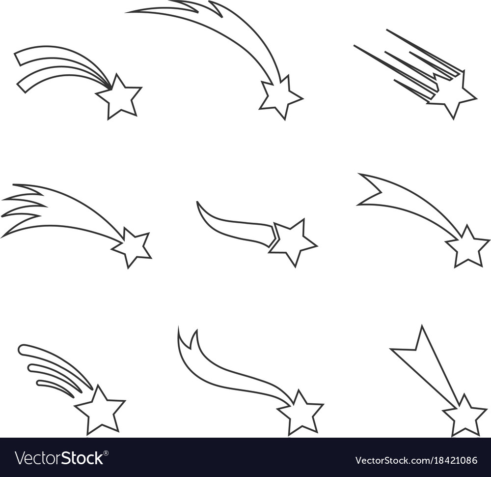Falling stars icons in a thin line