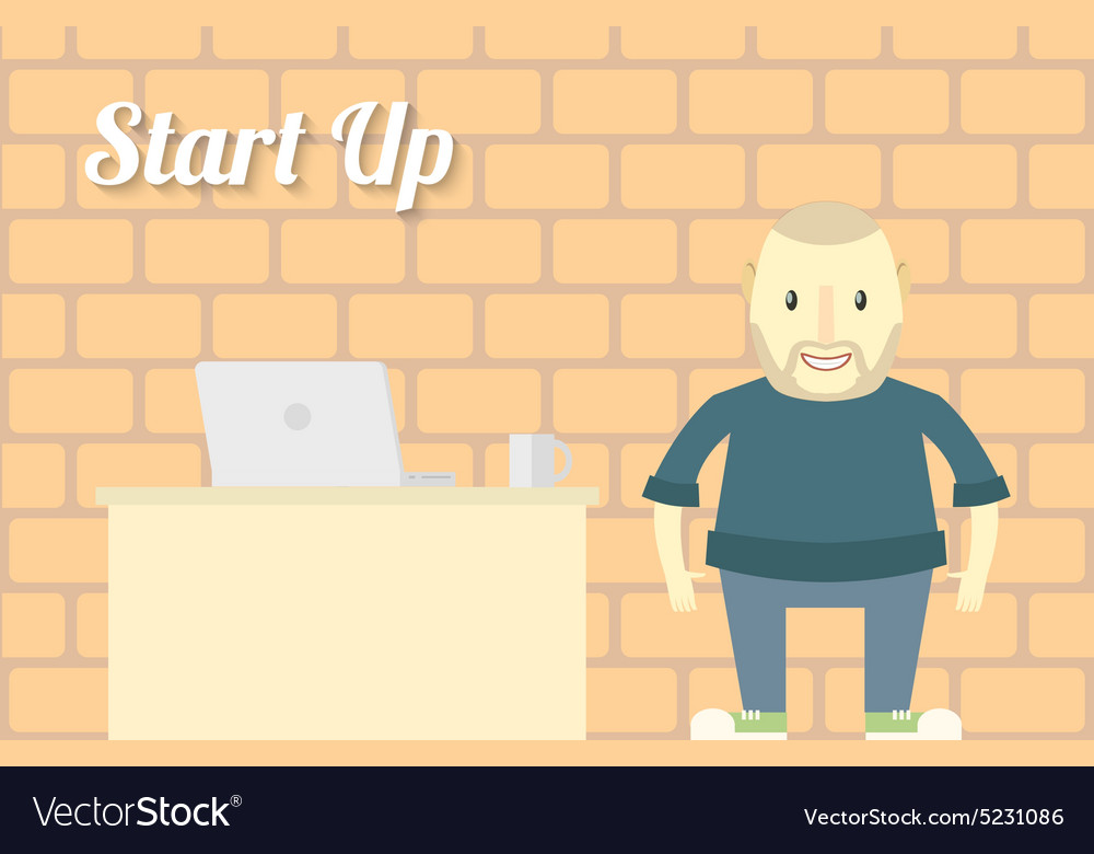 Flat design Start up Background Character with