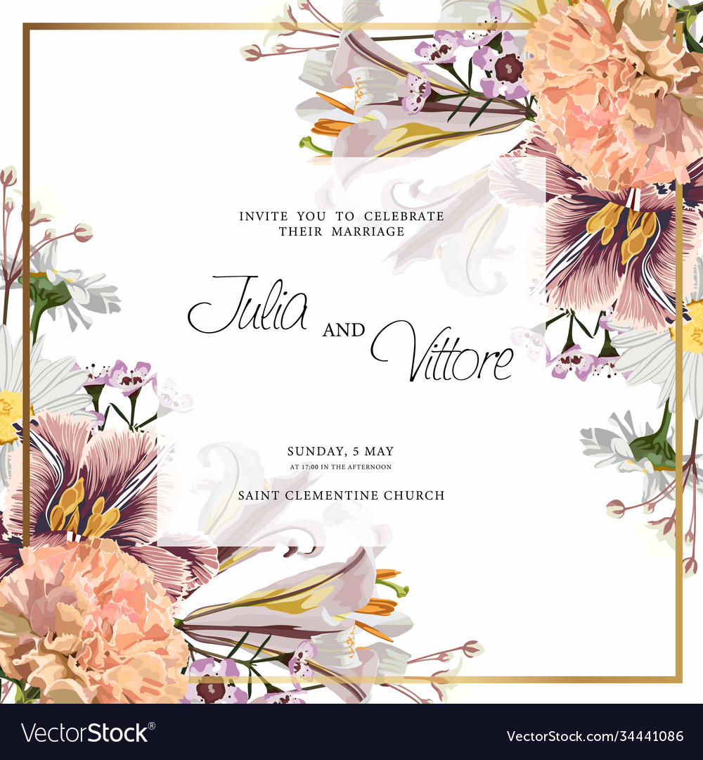 Floral wedding invitation card template design