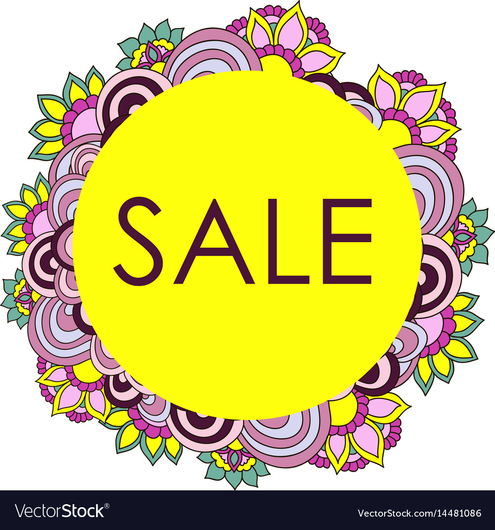 Frame of flowers doodle sale card vector image