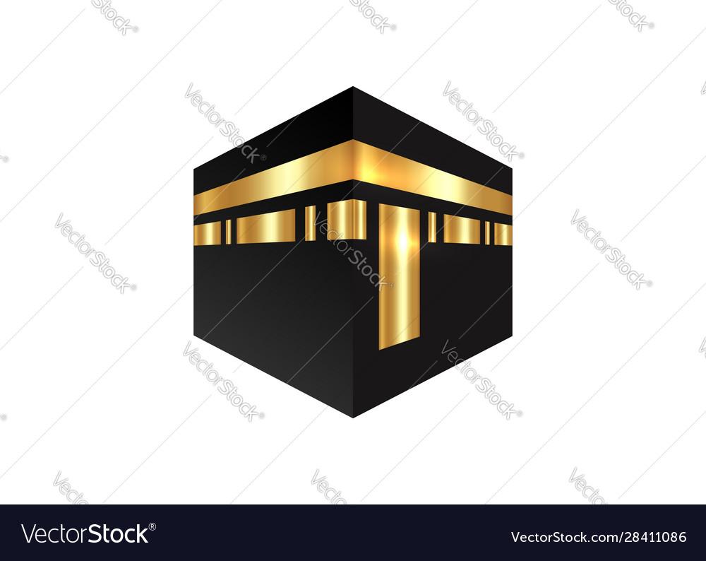 Islamic icon kaaba mosque design isolated