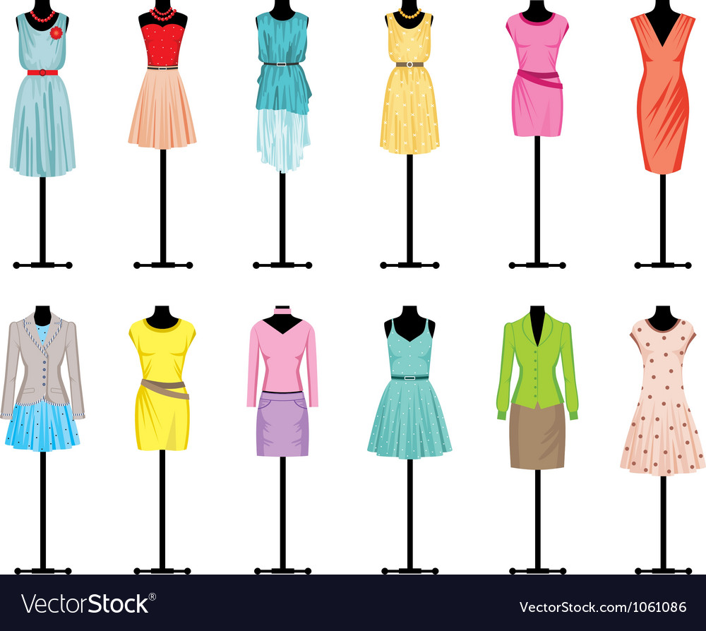 Mannequins with women clothing vector image