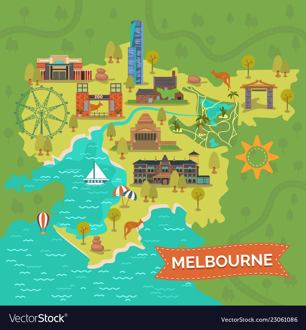 Australia Map Landmarks.Melbourneaustralia Map With Landmarkssightseeing Vector Image