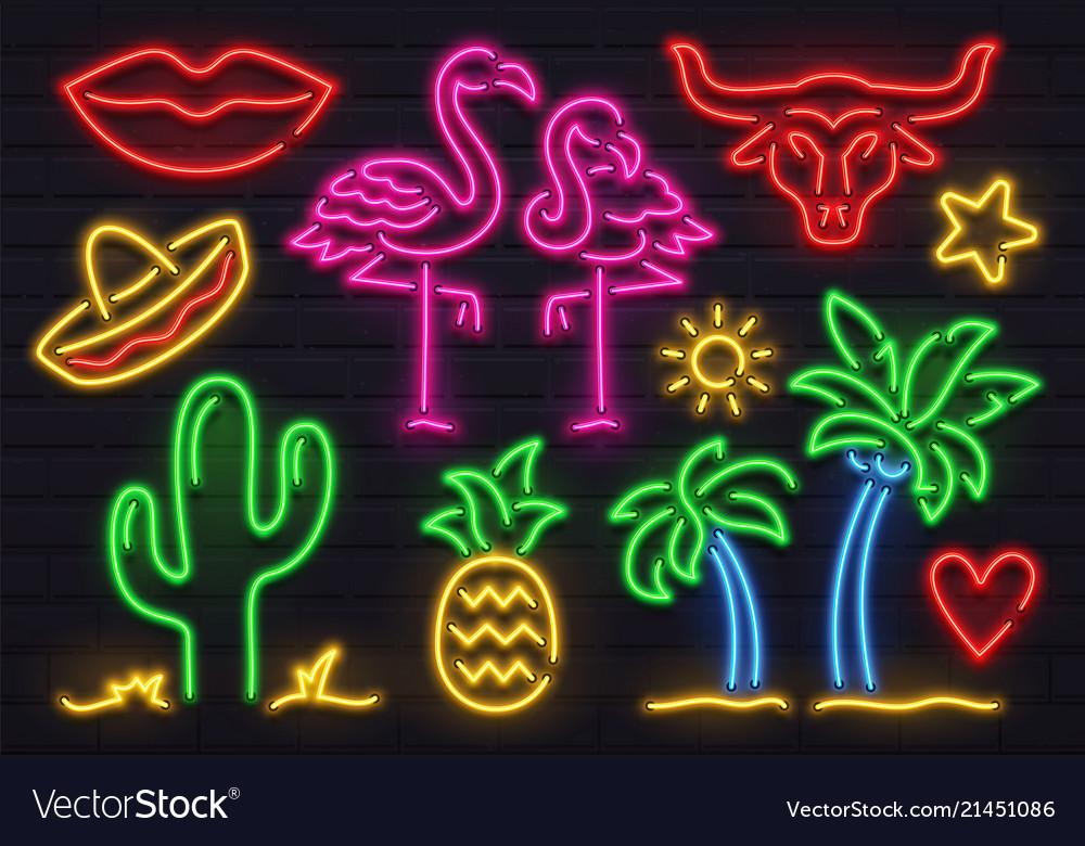 Retro fashion neon sign glowing fluorescent