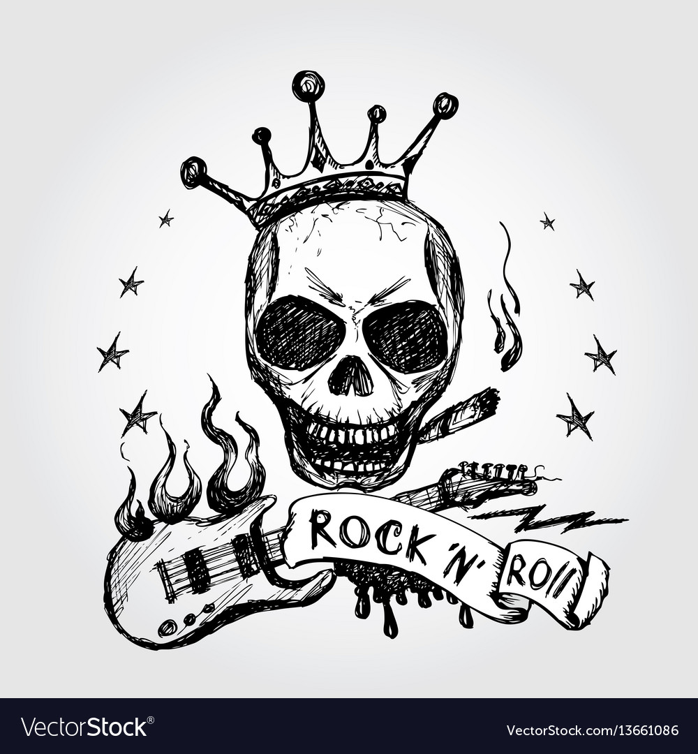 rock and roll skull guitar hand drawing royalty free vector