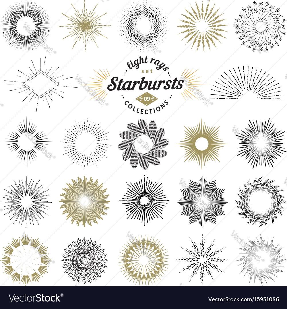 Set handmade sunburst design elements