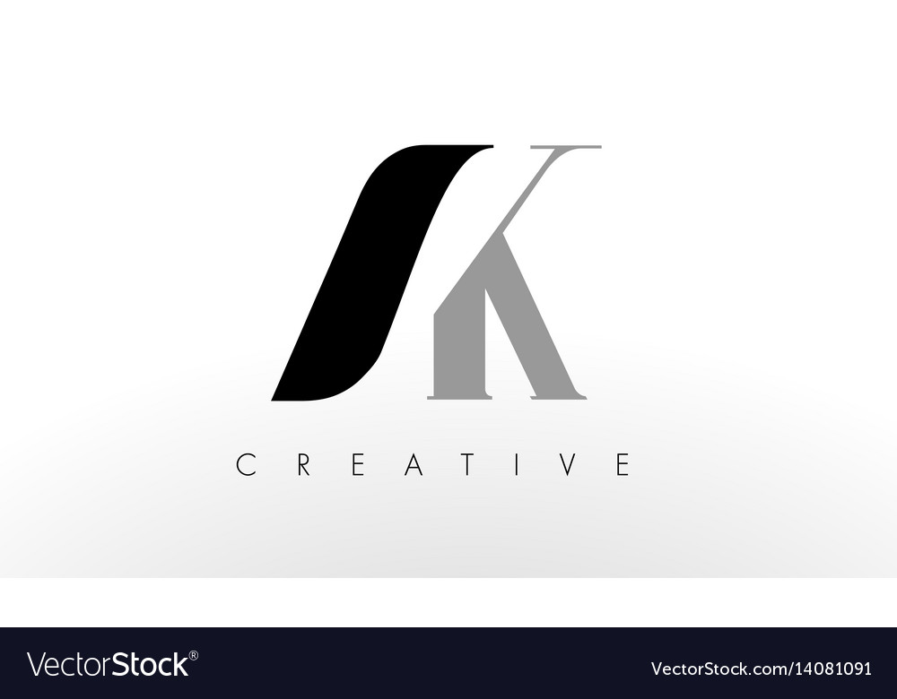 A k letter logo design creative ak letters icon vector image
