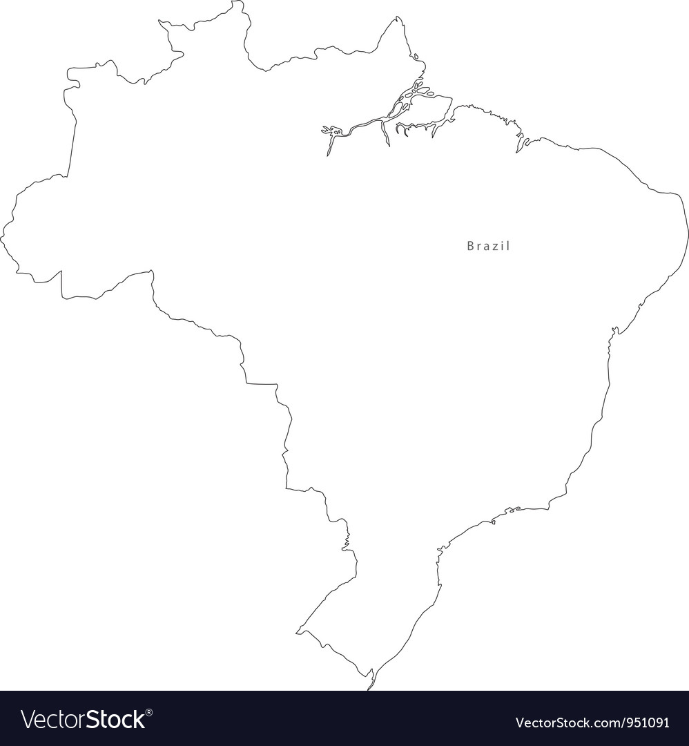 Black White Brazil Outline Map vector image
