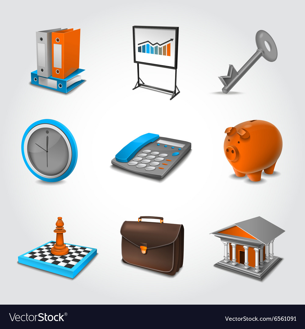 Business Realistic Icons vector image
