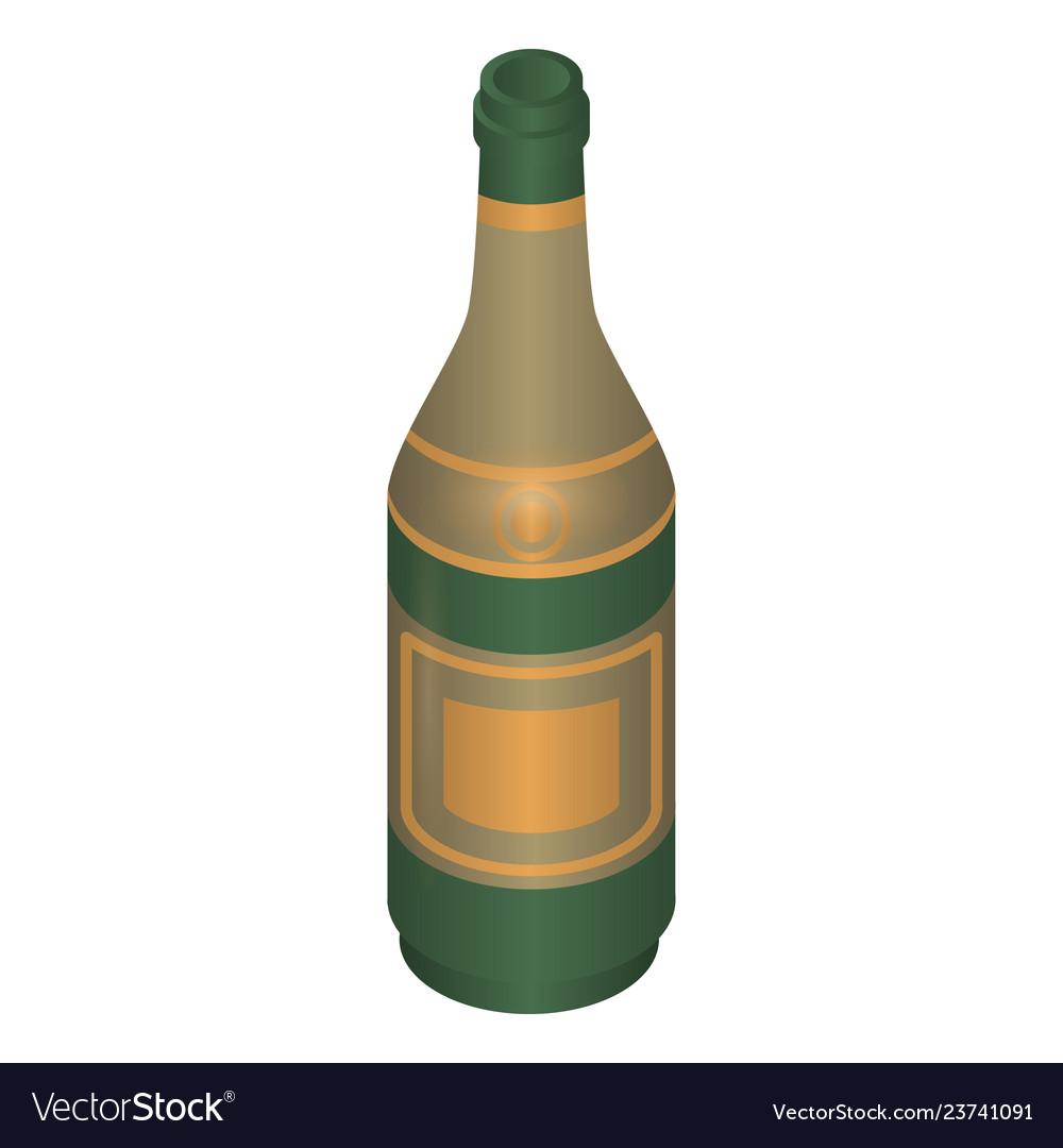 Champagne bottle icon isometric style