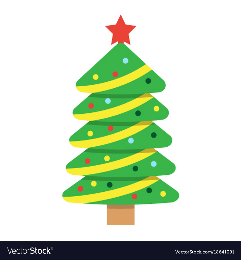Christmas Tree Facebook Icon: Christmas Tree Flat Icon New Year And Christmas Vector Image