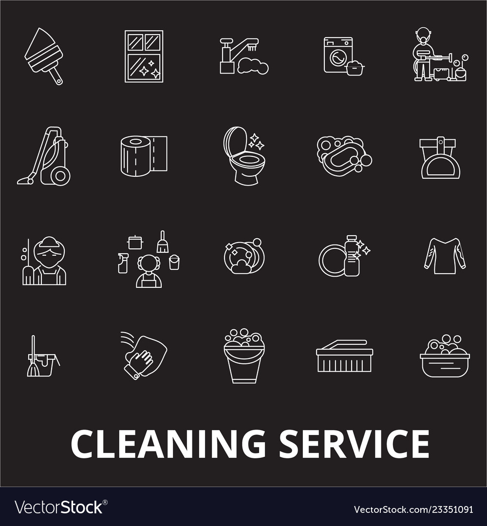 Cleaning service editable line icons set on