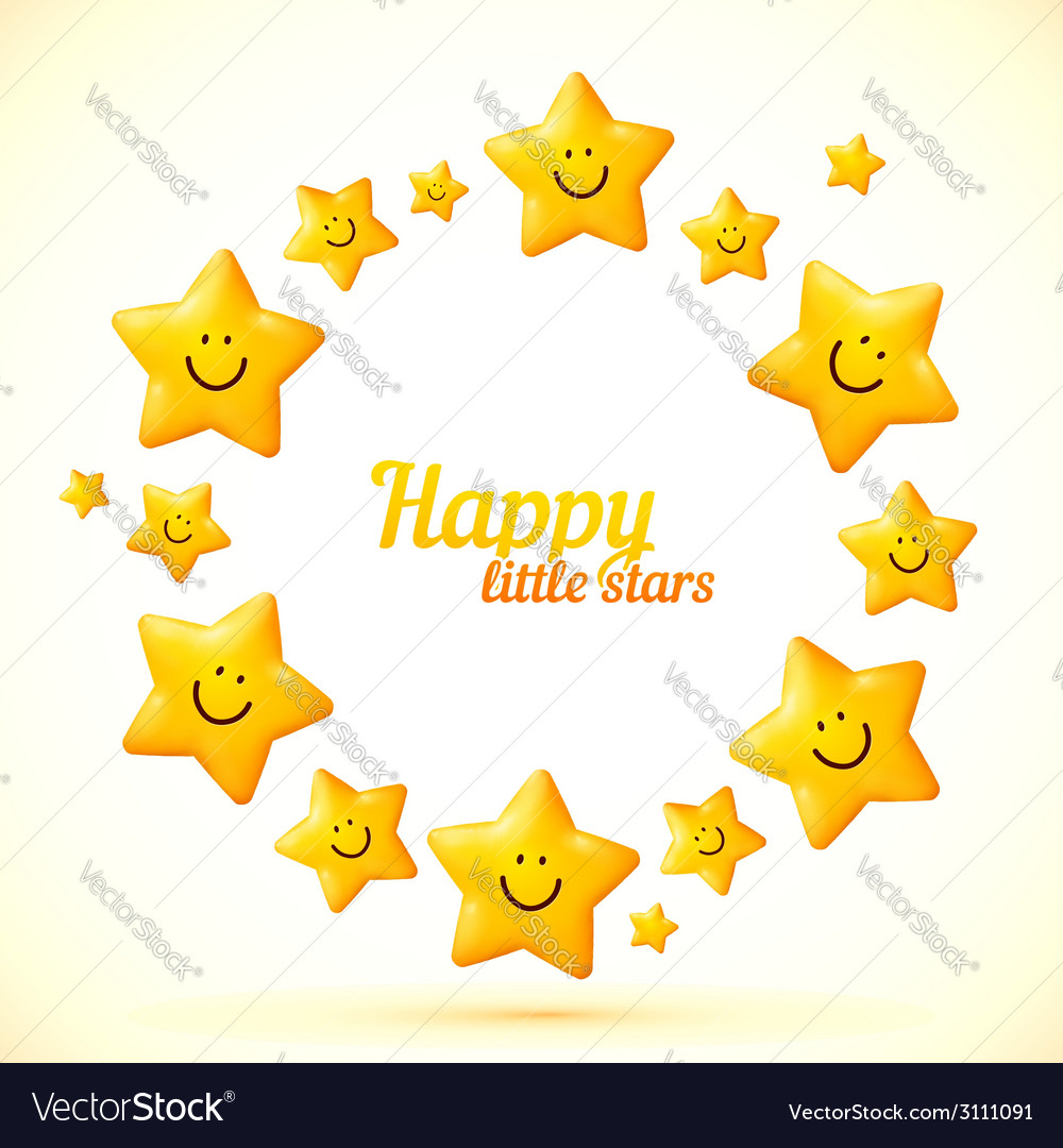 Cute little smiling stars frame Royalty Free Vector Image