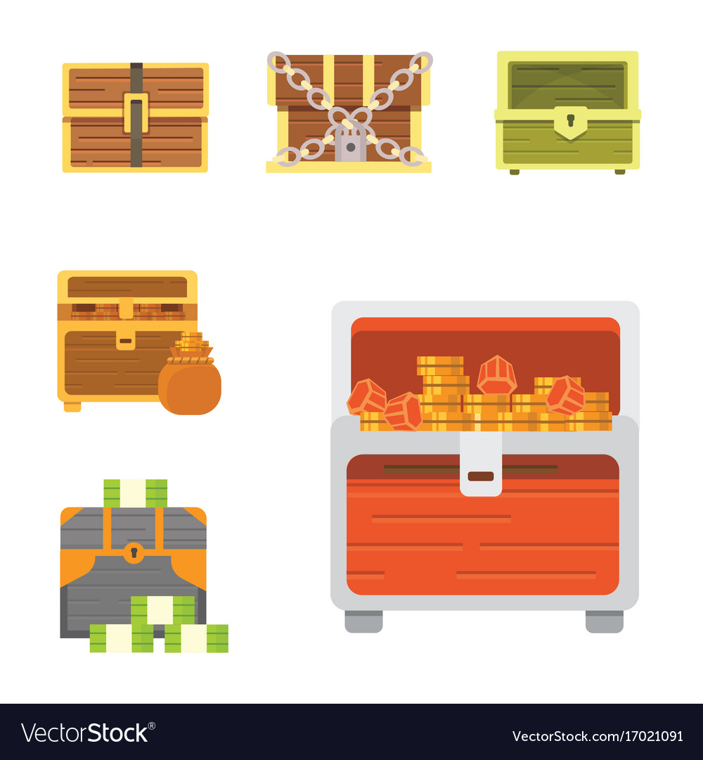 Cute set of diferent chests cartoon