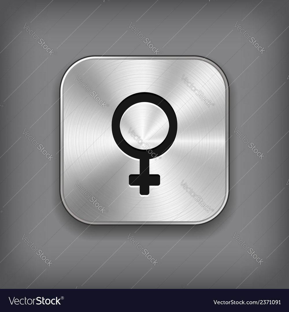 Female icon - metal app button