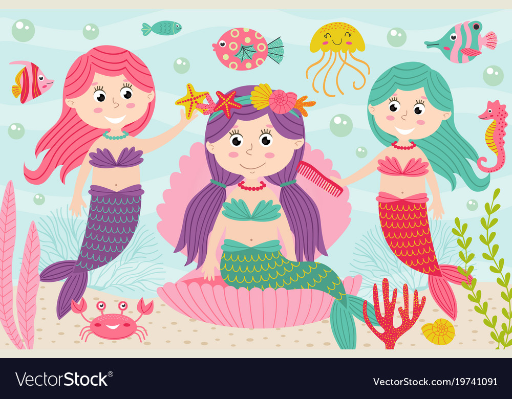 Mermaids comb and decorate their hair underwater