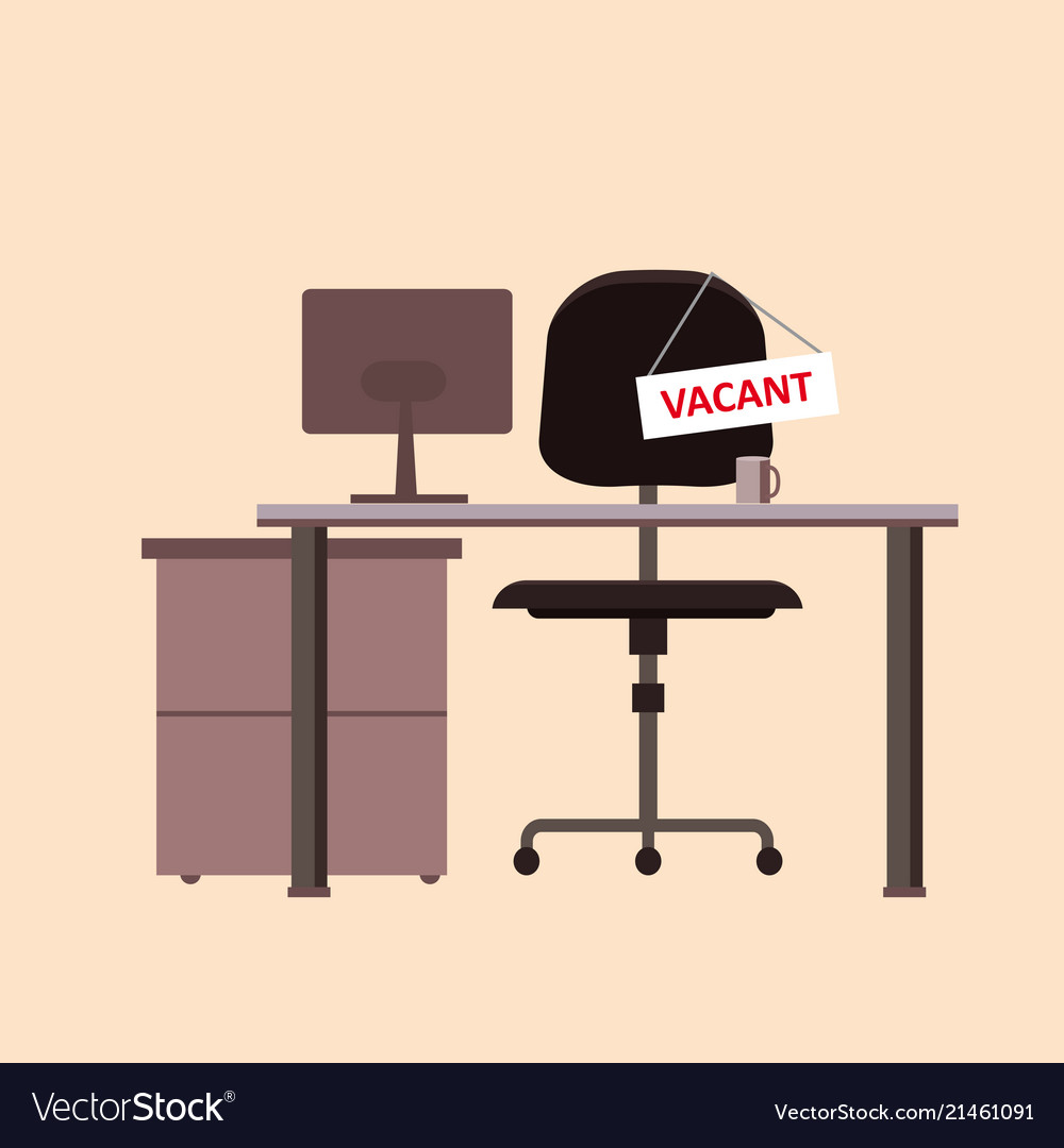 Office chair with vacancy sign isolated empty