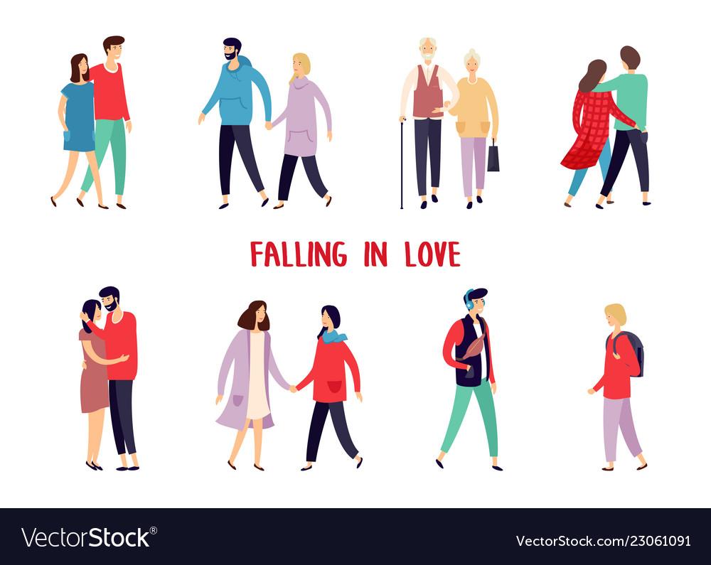 People having date rendezvouscharacters at walk