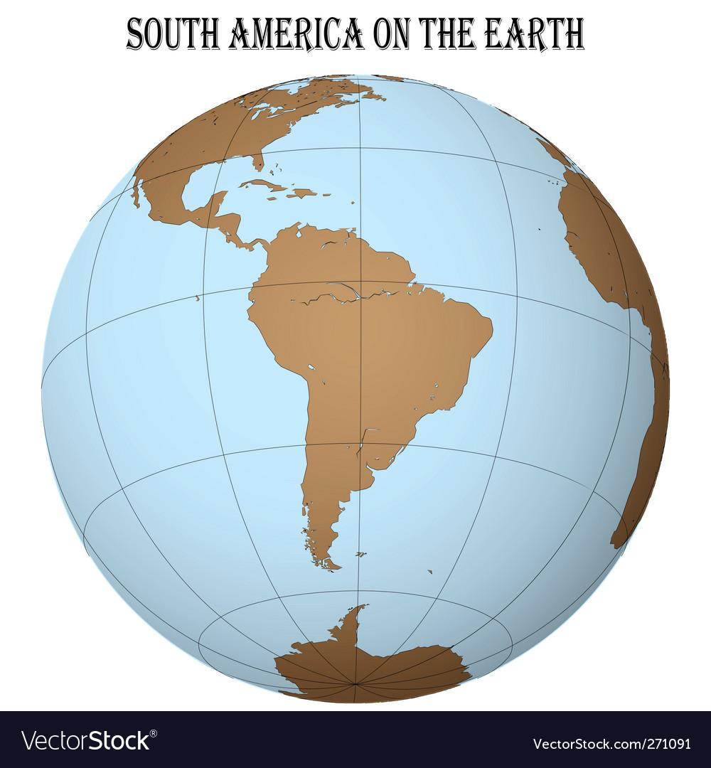 South America globe vector image