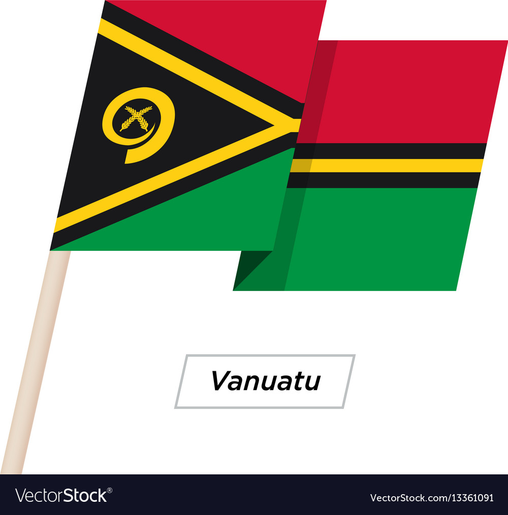 Vanuatu ribbon waving flag isolated on white