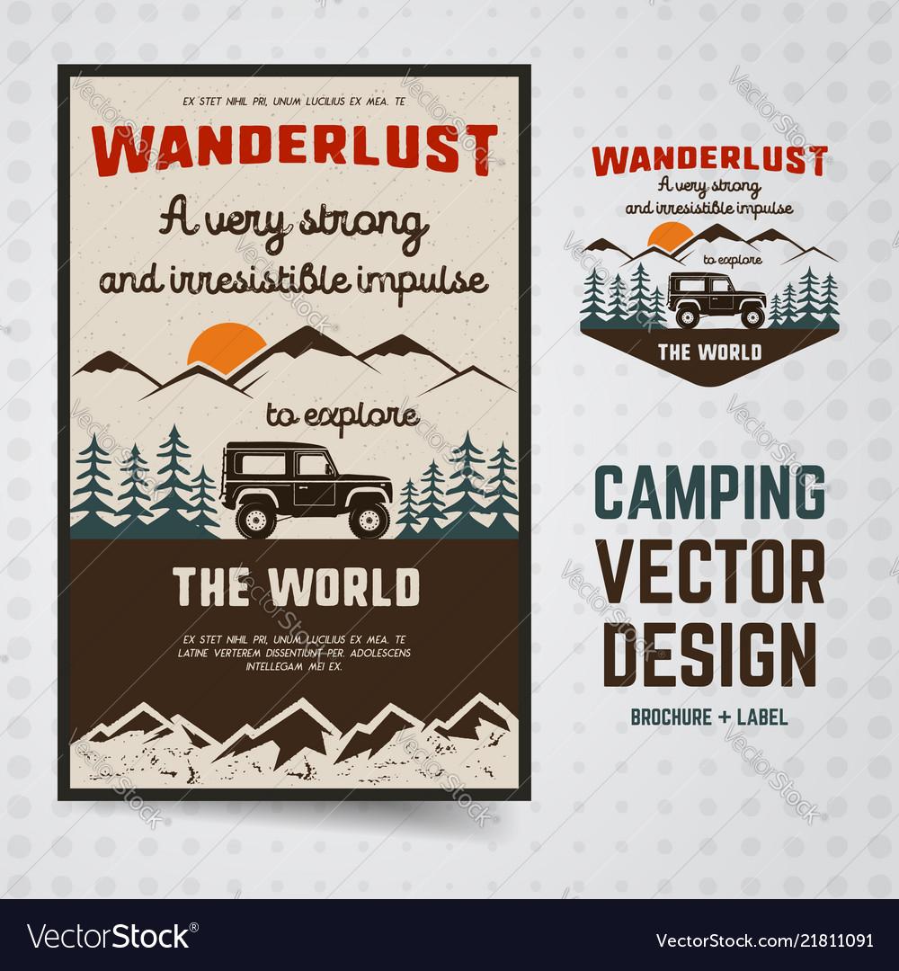 Wanderlust logo emblem and brochure template