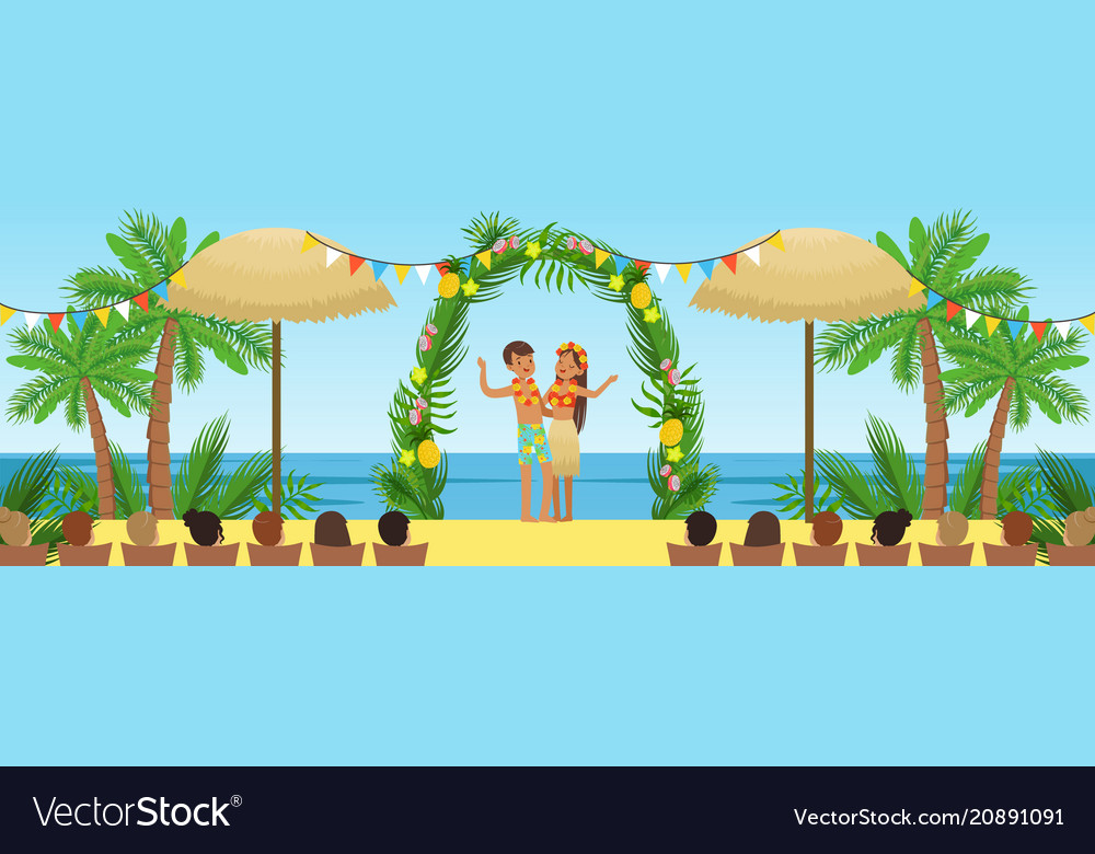 Wedding Ceremony On The Tropical Beach Newlyweds