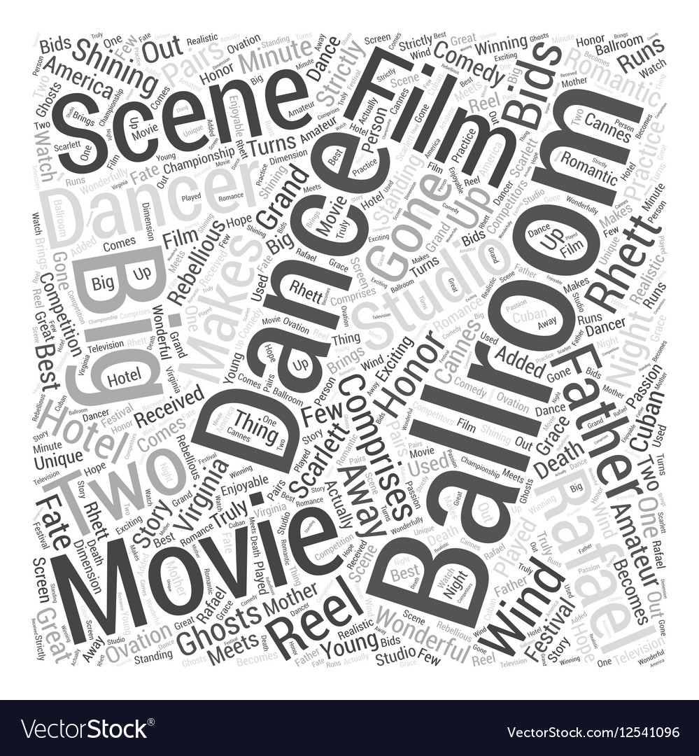 Ballroom Dancing and Hollywood Word Cloud Concept vector image