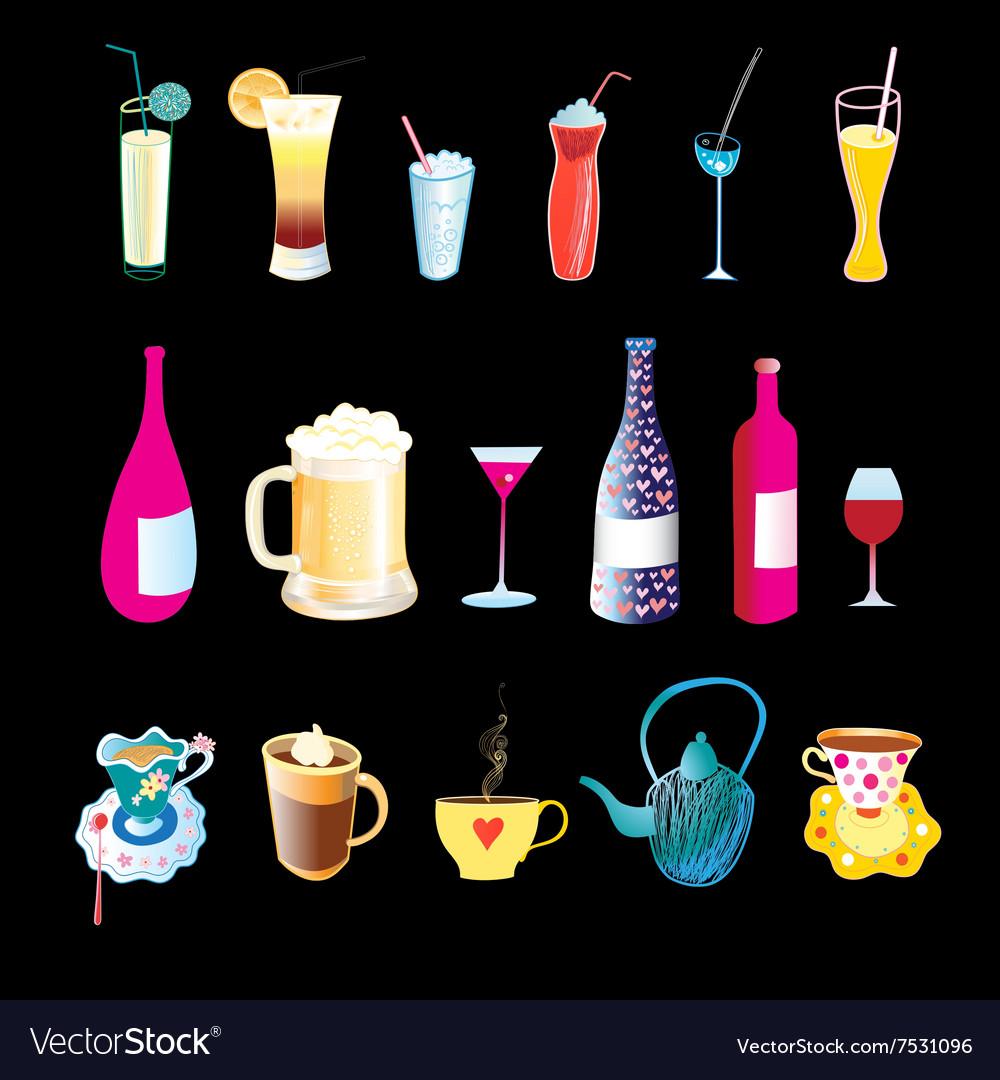 Beverages in bottles glasses and mugs