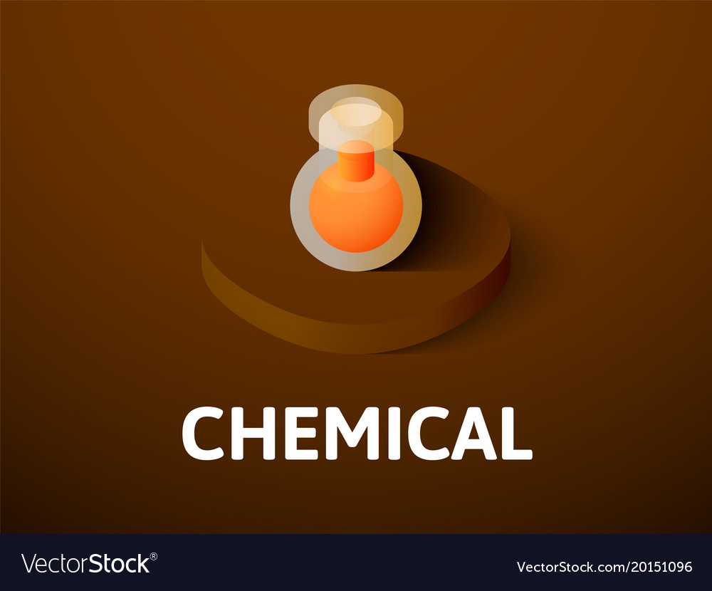 Chemical isometric icon isolated on color