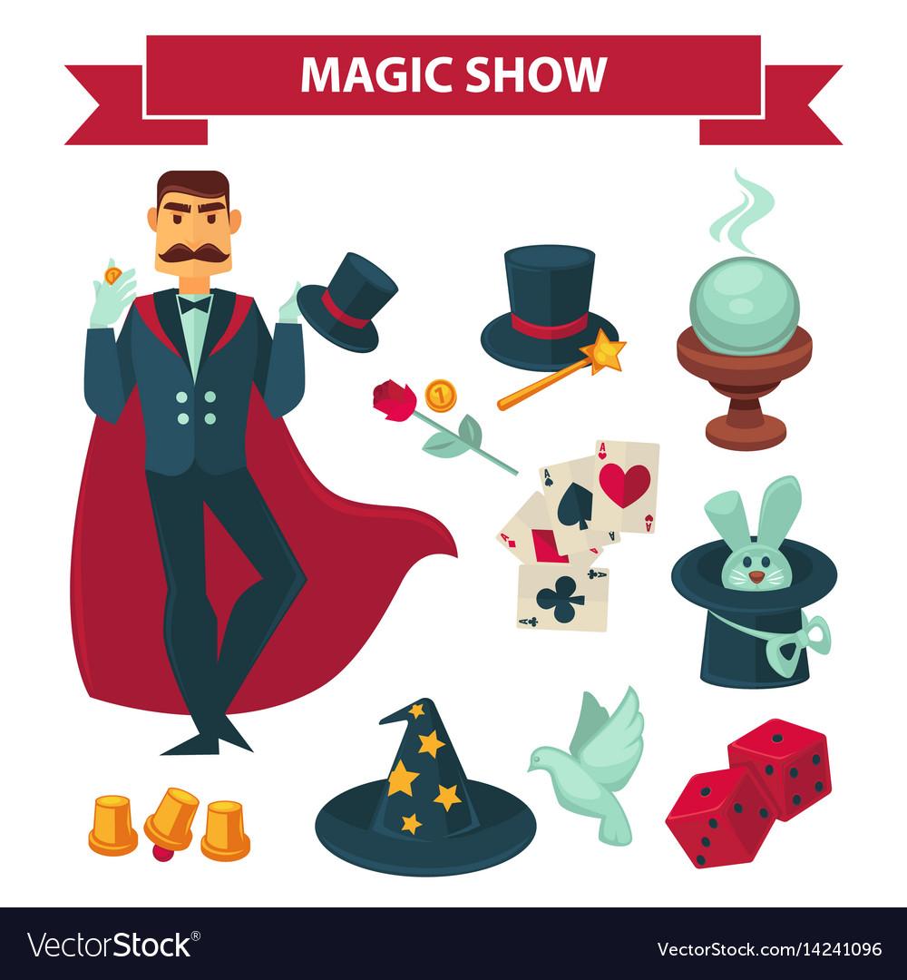 Circus magician man with magic show