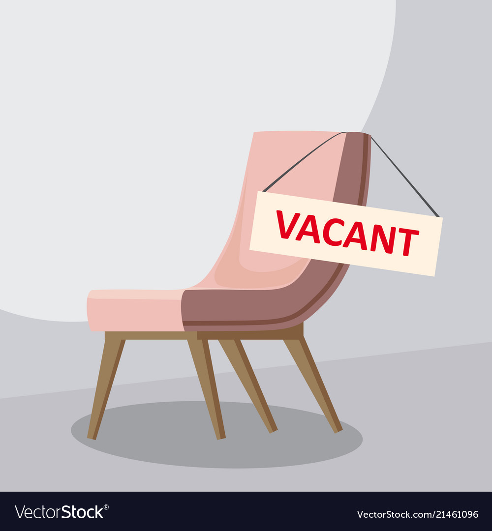 Composition with office chair and a sign vacant