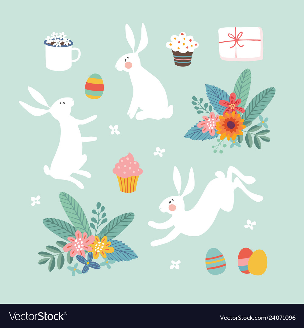 Cute easter set white rabbits colorful easter