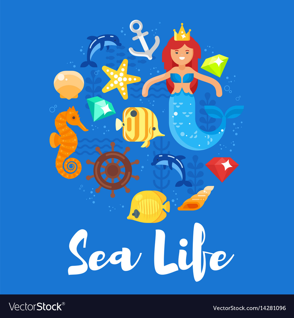Flat style of sea life