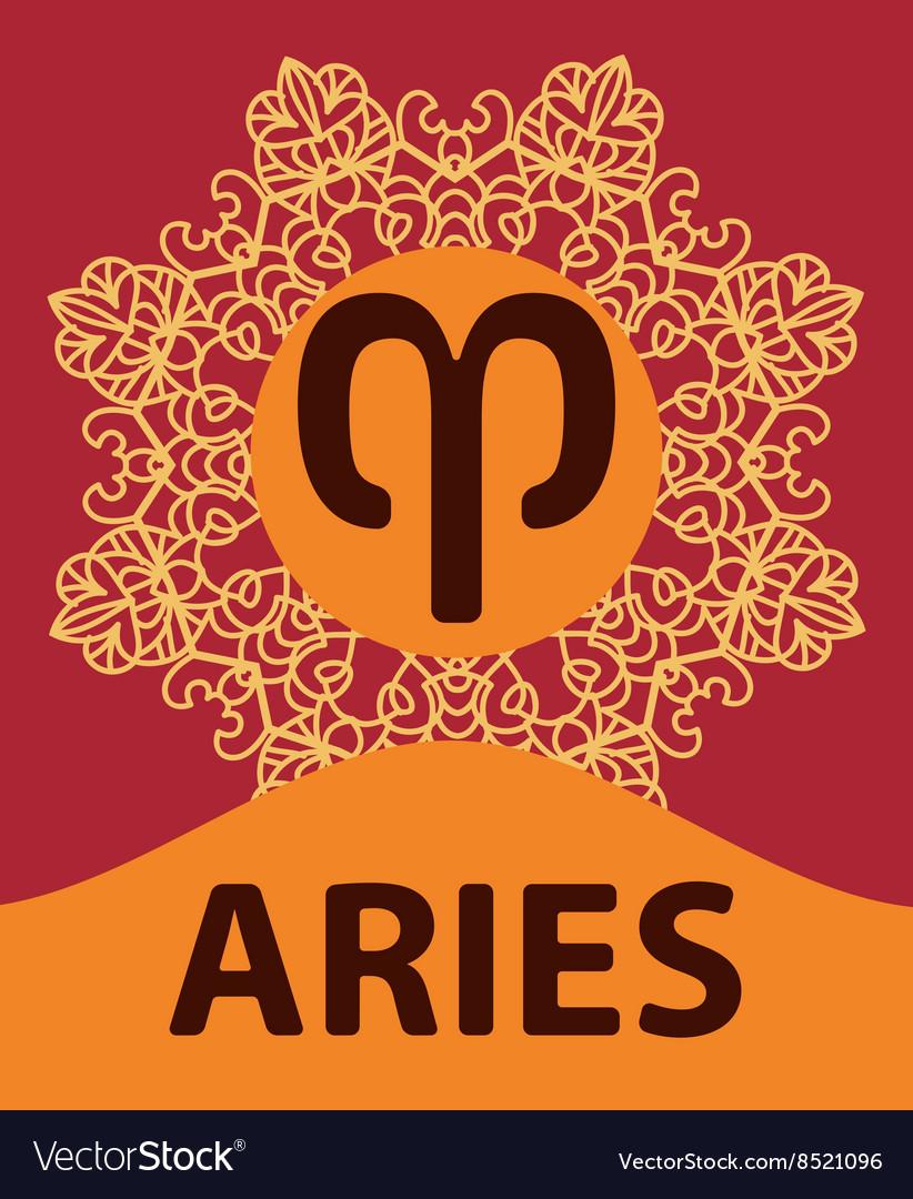 Hand-drawn zodiac Ram with ethnic floral geometric