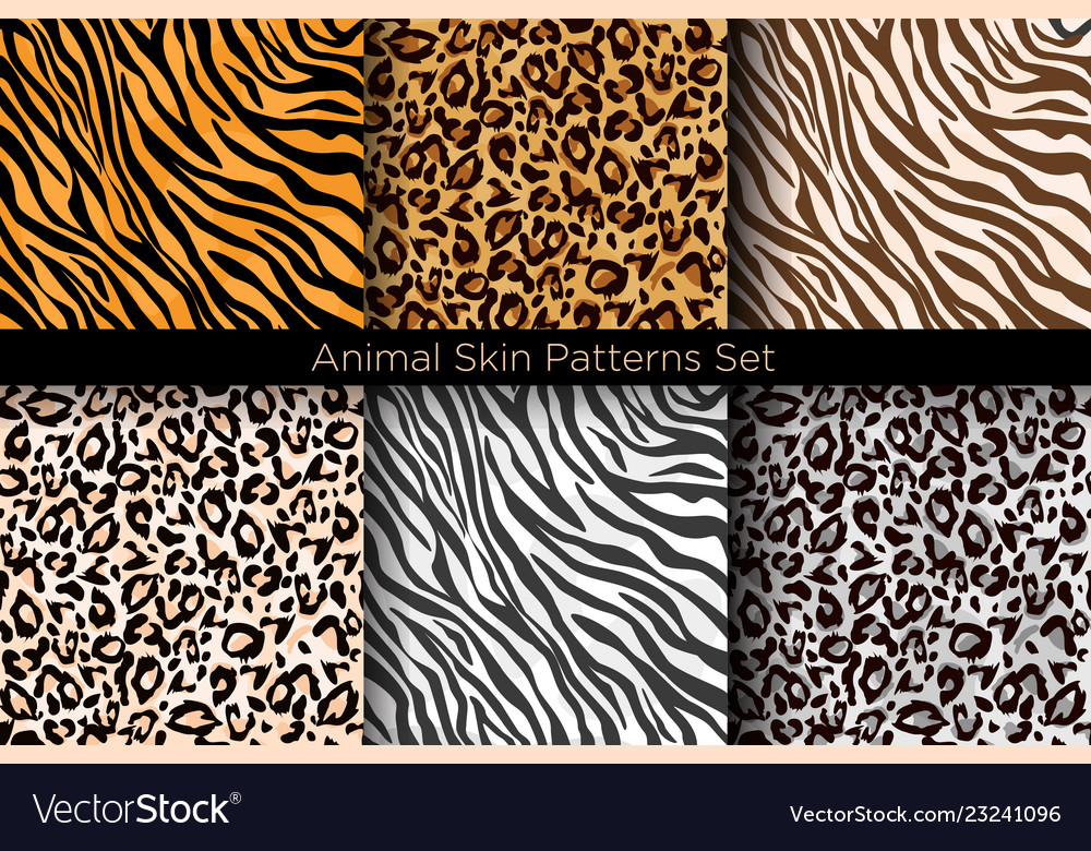 Set animal seamless prints