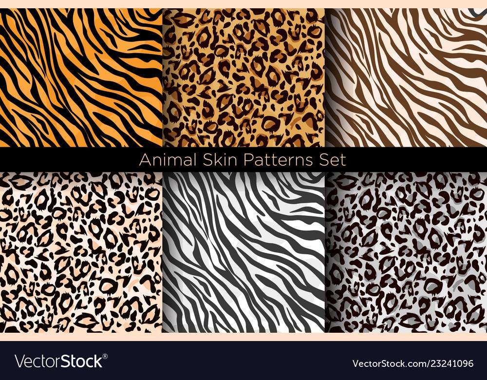 Set of animal seamless prints