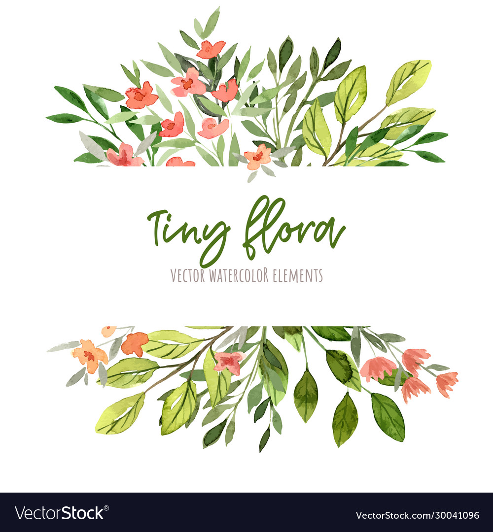 Watercolor tiny floral elements stripe banner