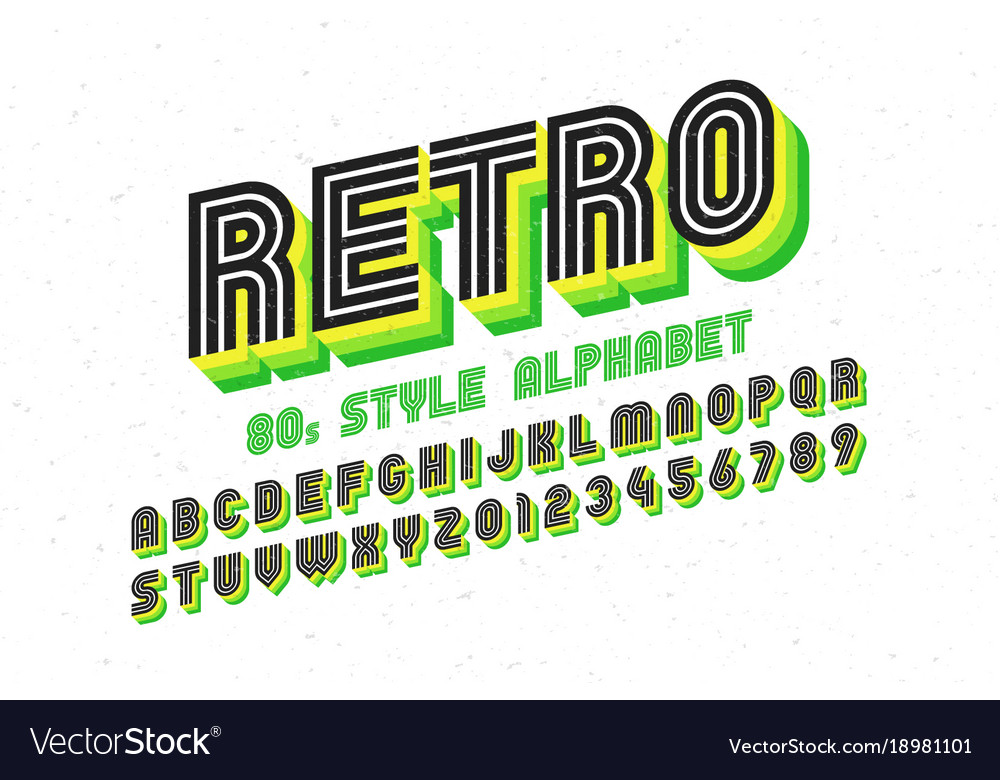 80s retro font disco style alphabet and numbers