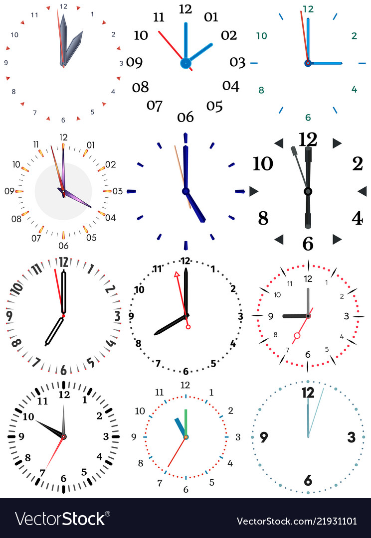 A set of different mechanical clocks