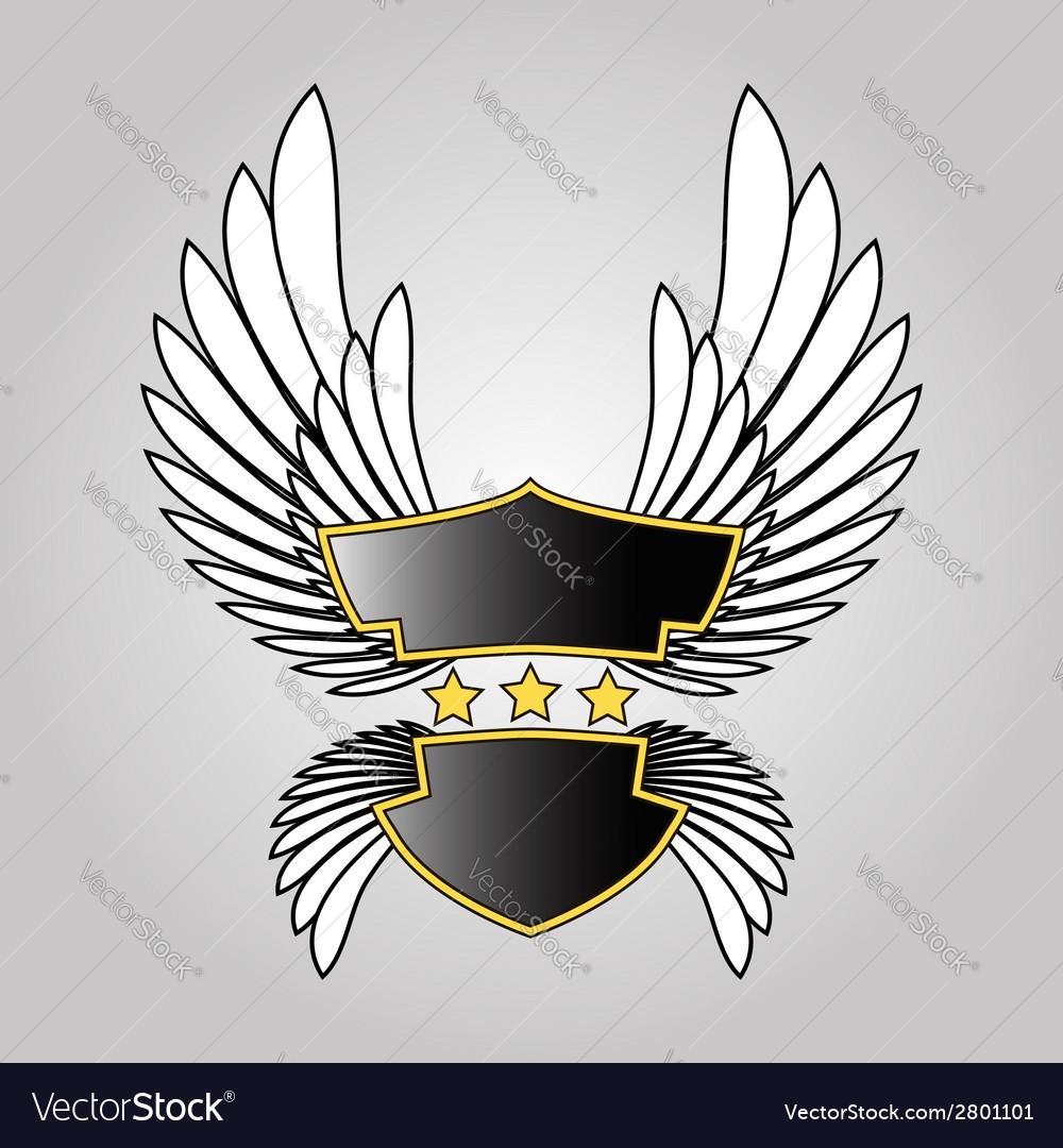 Abstract Logo Shield Stars And Wings Royalty Free Vector