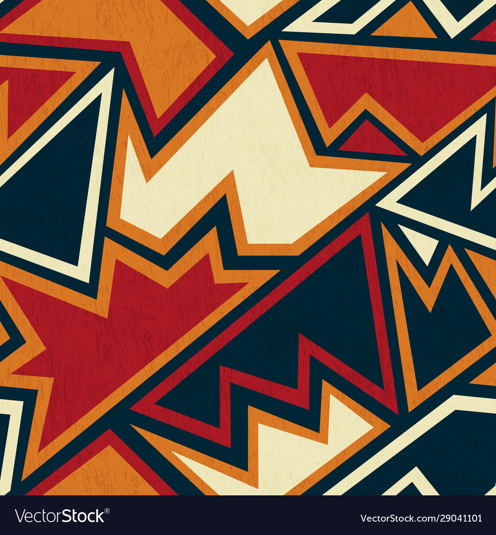 Ancient geometric seamless pattern with grunge