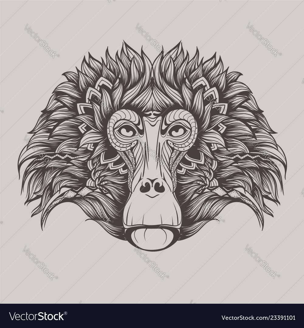 Baboon monkey face doodle