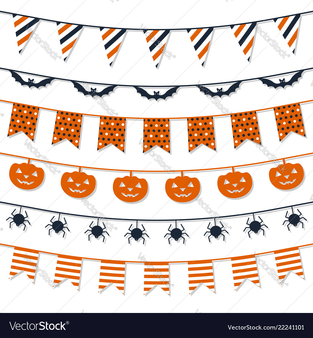 Halloween garland collection festive decorations vector